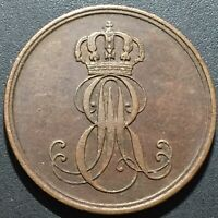 Old Foreign World Coin: 1847-B German States Hannover 2 Pfennig