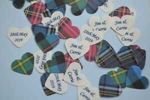 Personalised WEDDING CONFETTI 500 small HEARTS for scattering on 3 tables