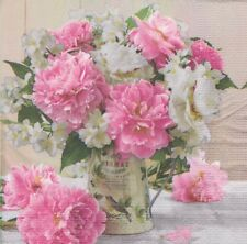 2 single paper Napkins for Decoupage Crafts Collection Flowers Peony pink garden