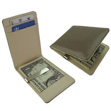 Slim Bifold Money Clip Wallet Silver Grey Faux Leather Card ID Holder