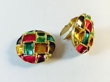 Cuff Link / Button Cover Hand Painted On Metal Gold