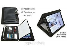 Tablet Portfolio with Notepad Universal Business Leather Case Black Zipped Pouch