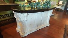Kitchen Island Cottage Distressed Corbels Off White Crackle w Teak Top  B