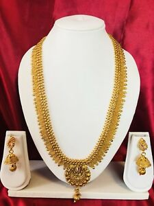 Bollywood Indian Bridal Temple Chain Necklace Earrings Jewellery Gold Set H25