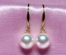 Genuine White Pearl Earring A Pair 9-10Mm South Sea