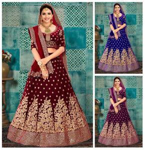 Women Velvet Choli Lehenga Sequence Lengha Indian Sequin Skirt Blouse Lehnga