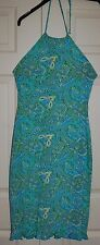 New Giant Sz 10-12 Blue Green Paisley Halter neck Sun Dress Gathered hem