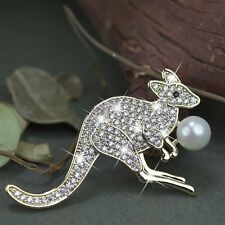 18k yellow gold gp made with Swarovski crystal pearl OZ kangaroo brooch