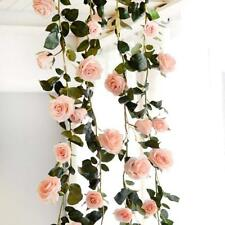 Silk Pink Rose Vine Hanging Plant Garland Wedding Party Fake LivingModern Garden