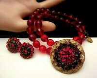 Rare Vintage Signed Miriam Haskell Red Glass Necklace Brooch Earring Set A34