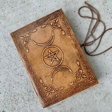 Brown Leather Journal Celestial Sun Triple moon phases Diary Book Of Shadow gift