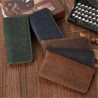 Long Wallet Men's Clamps Leather Purse Cash Clip Billfold Clutch Bag Male Wallet