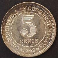 Malaya, George VI, 5 Cents, 1943, Brilliant Uncirculated, Toned, Amazing Lustre