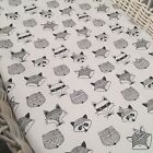 Grey or white fox bassinet, moses, Boori, Stokke mini fitted sheet - 100% cotton
