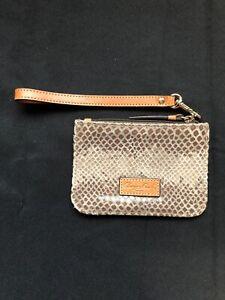 Dooney & Bourke Snake Skin Suede & Leather Trimmed Wristlet Mini Wallet