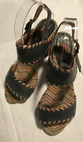 Miz Mooz Wooden Block Heel Women's Open Toe Leather Sandals - Size 7.5