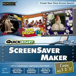 QuickStart Screensaver Maker PC Windows XP Vista 7 8 10 Sealed New