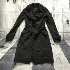 All Saints Elain Evening Trench Wool Coat Dress Jacket Dark Grey Pagen Goth 12