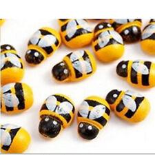 100pcs Wholesale Wooden Art Micro Bee Stickers Fridge Home Wall Decorative Bee