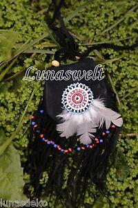 Indianer-Umhängetasche -kleine feine Wildledertasche verziert mit Perlenmandala´