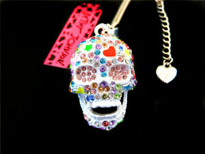 Betsey Johnson Multi-Color Rhinestone Skull Head Pendant Necklace Sweater Chain