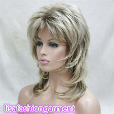 Women Blonde With Dark Root Medium Length Synthetic Hair Wigs +free wig cap
