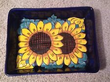 Blue painted sunflower tray from Mexico