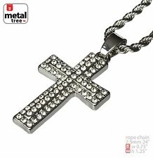"""Men's Hip Hop Silver Plated Micro Cross Pendant 2.5 mm 24"""" Rope Chain HC 203 S"""