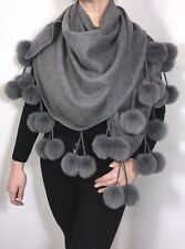 Pom Pom Pashmina Wrap Shawl Pom Poms Soft Fluffy GREY Brushed Oversized NEW