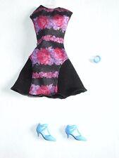 Barbie Fashionistas Fashion Black Dress w/ Roses Shoes Bracelet Loose Outfit New
