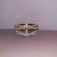 1.26Ct Round Cut Diamond  Enhancer Wrap Band Engagement Ring 14k Yellow Gold Fn