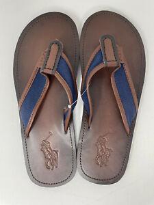 NEW Polo Ralph Lauren Mens Sullivan Flip-Flop Flaps Leather Sandals Navy  US 13