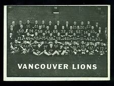 1961 TOPPS CFL FOOTBALL #15 VANCOUVER VG-EX B C LIONS TEAM CARD