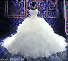 Luxurious White/Ivory Ball Gown Wedding Dresses Ruffles Chapel Train Bridal Gown