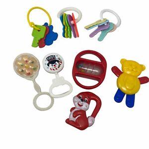 8 piece vintage 80s infant rattles & pretend plastic keys