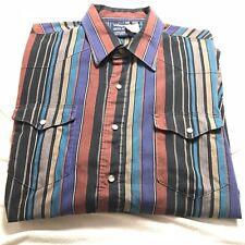 Vintage Wrangler Pearl Snap Color Block Stripe Western Cowboy Shirt XLT