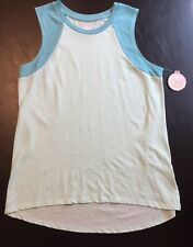 SO Junior's Ladies Large Blue Green Top T-Shirt Sleeveless Muscle Tank NWT