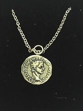 "Denarius Of Caligula Coin WC74  Pewter On a 16"" Silver Plated Chain Necklace"