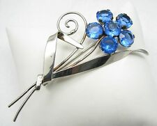 "Vintage Sterling Silver Blue Glass Open Back Stone Flower 3"" Brooch Pin"