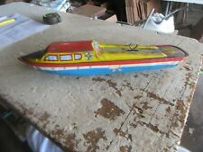 "Vintage Tin Toy Boat Ohio Art Co 14"" Long Lot 20-17-10"