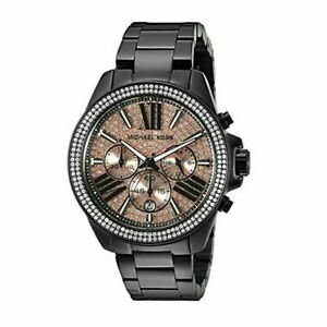 Michael Kors MK5879 Everest Chronograph Rose Dial Black Ion-Plated Ladies Watch