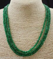 """GENUINE NATURAL 3 Rows 2X4mm FACETED GREEN EMERALD ABACUS BEADS NECKLACE17-19"""""""