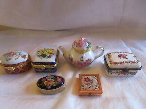 Vintage Trinket Jewelry Flower Teapot Box Lot