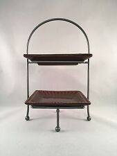 """2 Tiered Square Plate Stand Real Home Brown Stoneware """"Let Us Entertain You"""""""