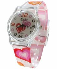 Core Girls Designer White Dial & Strap with Colourfull Hearts Plastic Watch