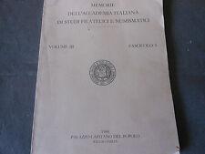 1988 MEMORIE ACCADEMIA ITALIANA DI STUDI FILATELICI E NUMISMATICI VOL 3 FASC 3
