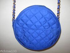 Vintage 80's Round Shaped Blue Fabric Quilted Small Evening Handbag Shoulderbag