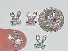 1 Miniature Little Bunny rabbit Easter Flatback floating ab Crystal charm metal