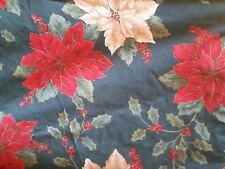 ROUND CHRISTMAS tablecloth poinsettia holly berries cotton Holiday craft fabric