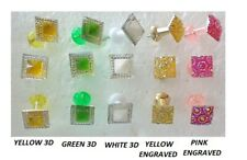 SQUARE 3D HEADED HANDMADE NOVELTY PUSH PINS THUMB TACKS WHITE GREEN YELLOW PINK